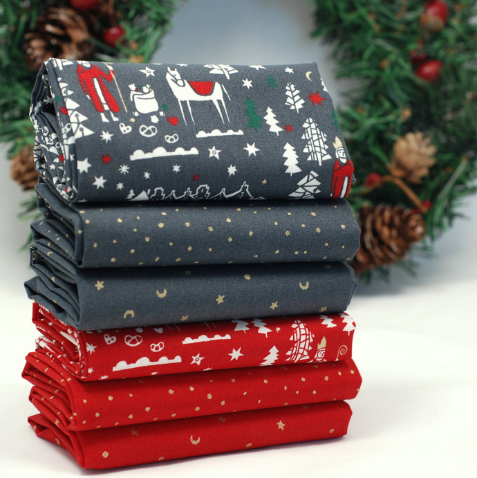 Christmas fat quarter fabric bundle - 100% cotton - red grey gold - quilting