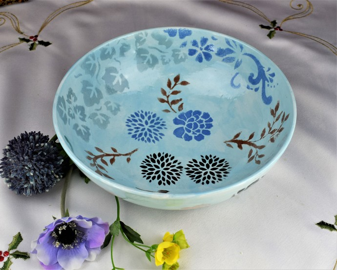 "Decorative bowl, ""THE SUMMER GARDEN"", centrepiece bowl, Hand painted ceramic,"
