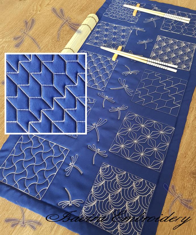 Machine embroidery design 'Sashiko', fragment8, Quilting, patchwork, clothes,