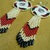 Native American Style Rosette Beaded North West Coastal Orca Earrings in  Off