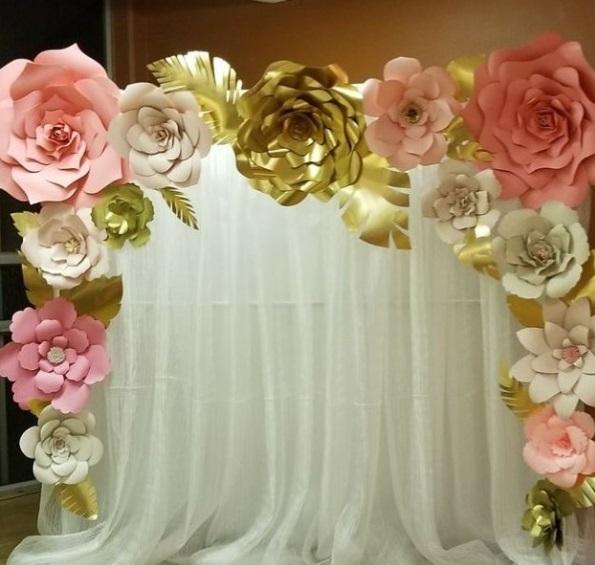 15 Large Paper flower wall decor, flore de papel, wedding paper flower backdrop,