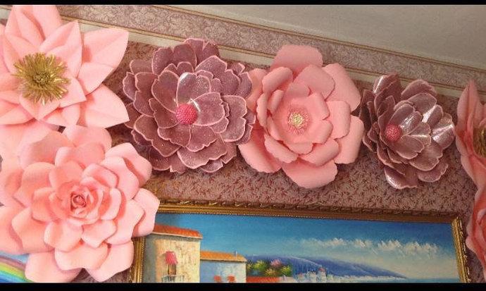Unicorn set of 6 paper flower backdrop by preciosa design on zibbet unicorn set of 6 paper flower backdrop nursery decor large paper flowers wall mightylinksfo