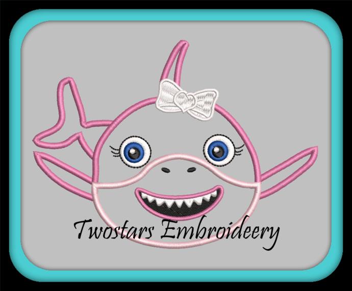 Baby girl shark. In 4x4 fill 5x7 fill 5x7 applique machine embridery designs.