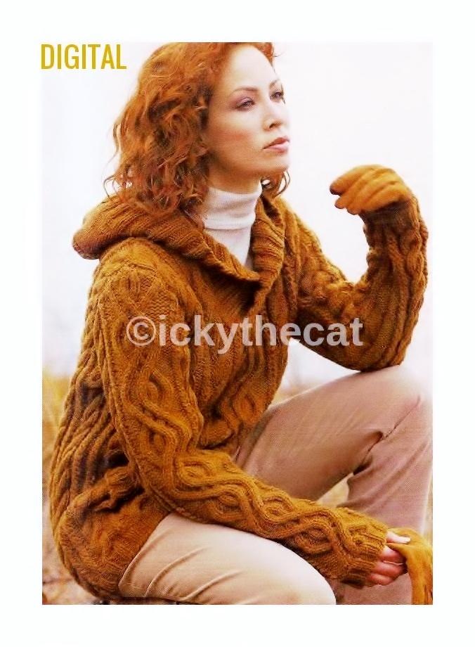 30d4009109b3e8 Instant PDF Digital Download Vintage Knitting Pattern Ladies Woman s Aran