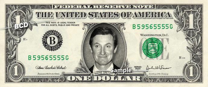 WAYNE GRETZKY on Real Dollar Bill Cash Money Collectible Memorabilia Celebrity