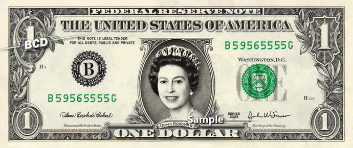 Queen Elizabeth II on Real Dollar Bill Cash Money Collectible Memorabilia
