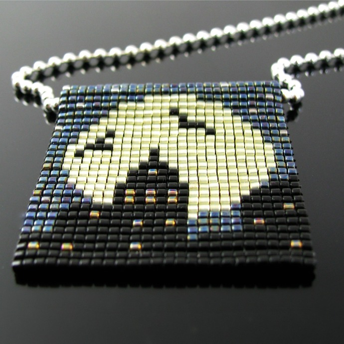 Bead loomed silhouette and full moon pendant