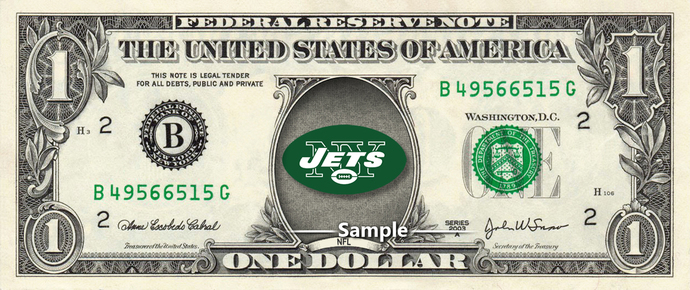New York Jets on a REAL Dollar Bill NFL Cash Money Collectible Memorabilia