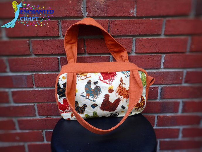 Fun Fancy Chicken Purse Zippered Handbag, inside 2 open pockets and one zippered