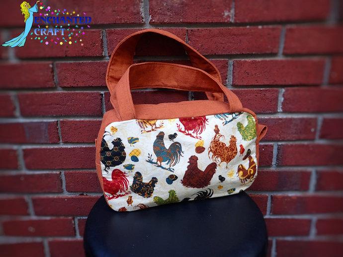 Fun Fancy Chicken Purse Zippered Handbag, inside 2 open pockets and one zippered