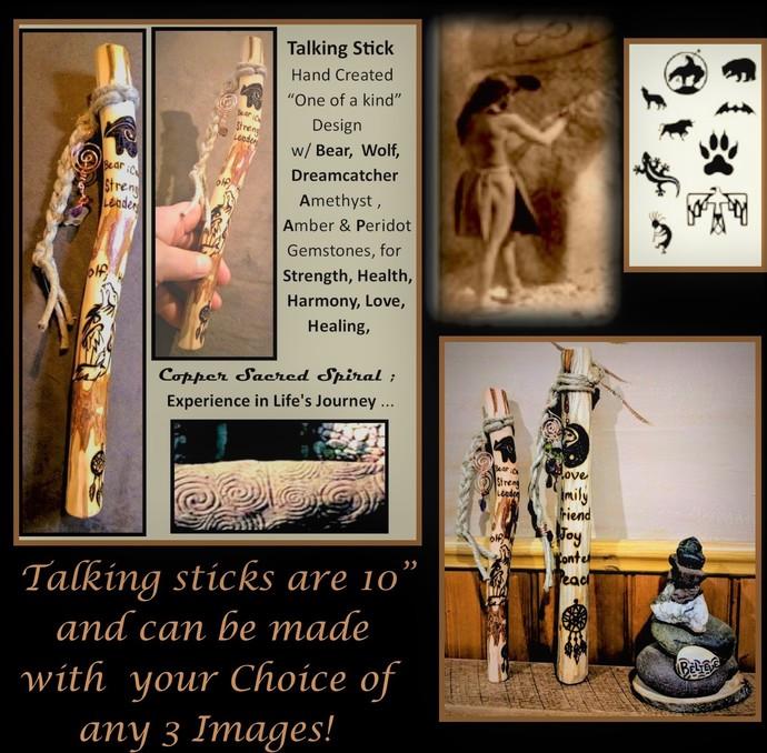 Talking sticks - group talk - newlywed gift - tribal talking stick