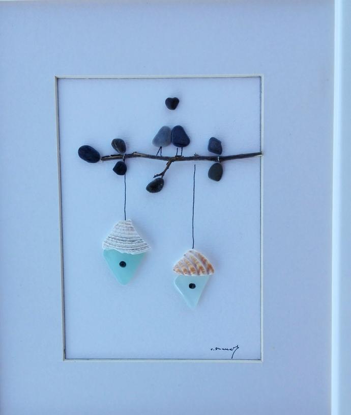 pebble art birds, sea glass art, sea glass pictures, home decor, pebble art,