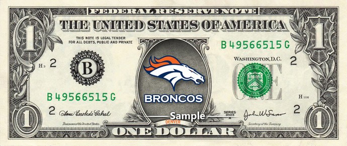 DENVER BRONCOS on a REAL Dollar Bill NFL Cash Money Collectible Memorabilia
