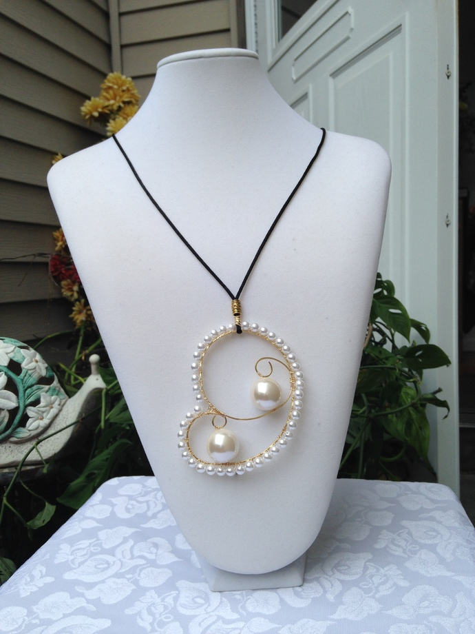 Large Pearl Beaded Pendant Necklace on a Black Nylon Cord, Wire Wrapped Pearls,