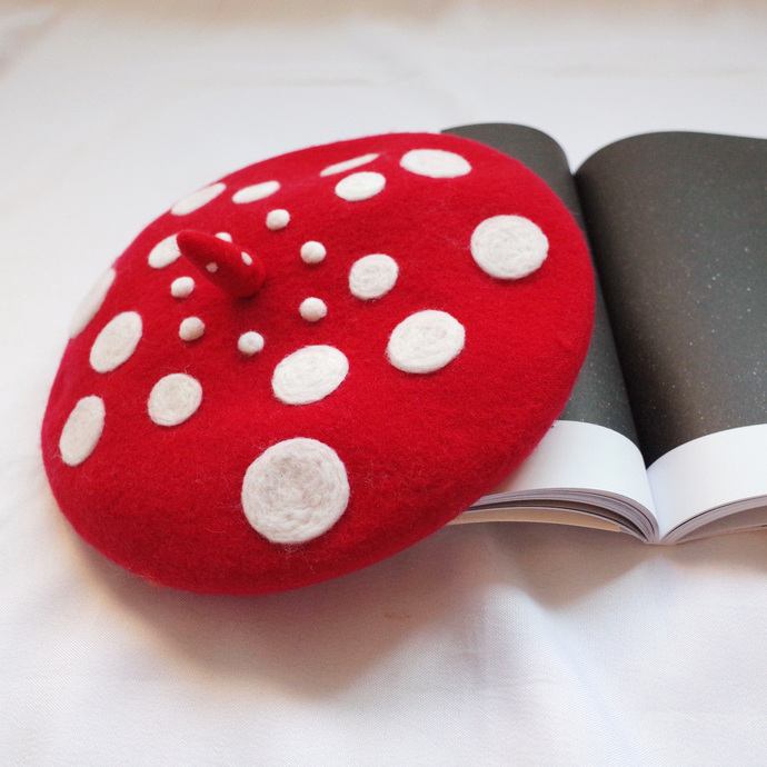 Needle Felted French Beret Hat: Dots Dots Dots