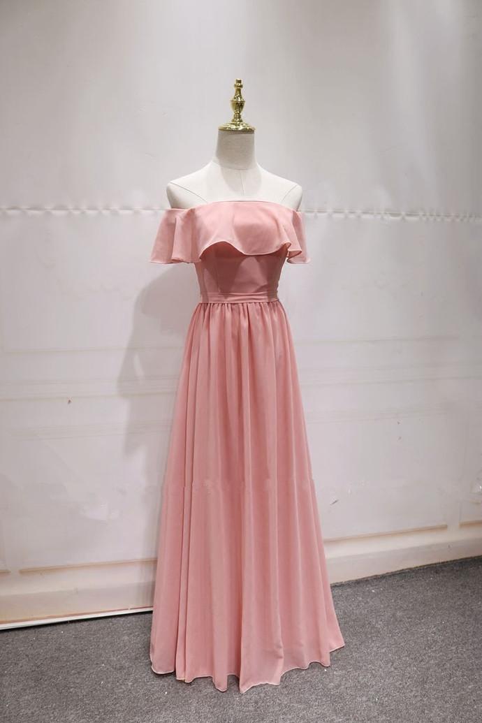 Pink Chiffon Floor Length Bridesmaid Dress, Pink Bridesmaid Dress, Prom Dress