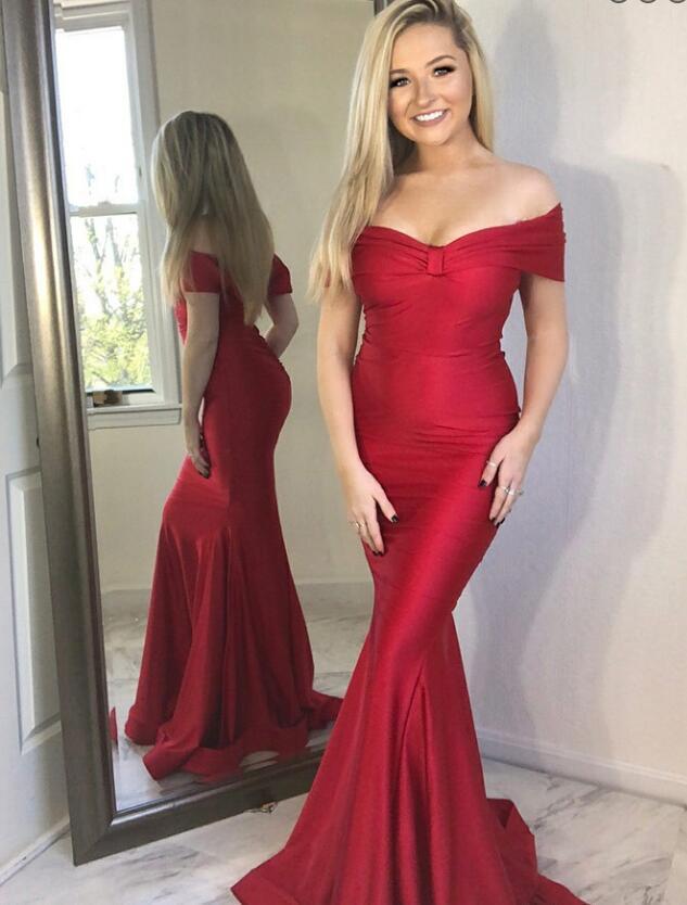 Red Chiffon Mermaid Dress