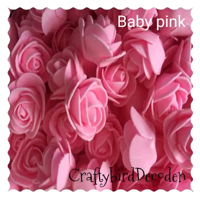 Super cute 30mm foam roses. 15 pieces, Baby pink. Scrapbooking, card making,