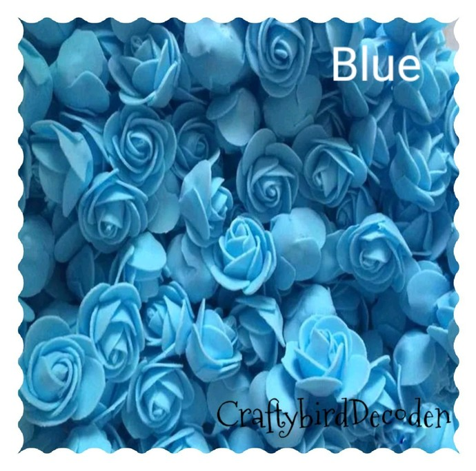 Super cute 30mm foam roses. 15 pieces, Blue.  Scrapbooking, card making, hair