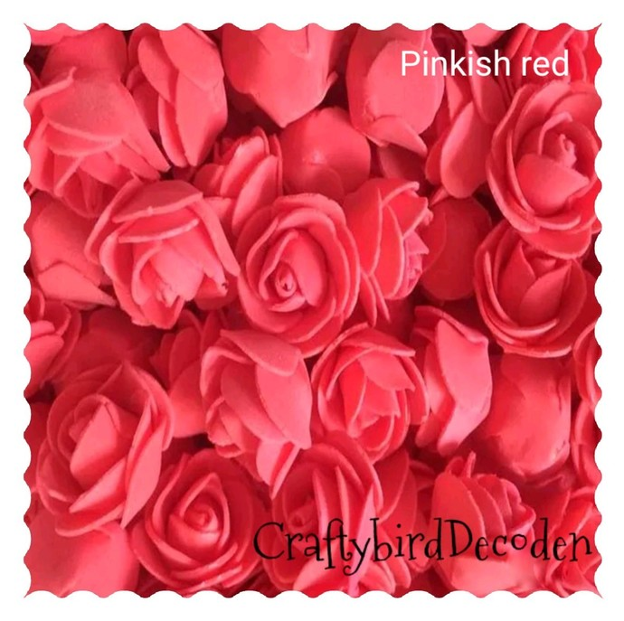 Super cute 30mm foam roses. 15 pieces, pinkish red.  Scrapbooking, card making,