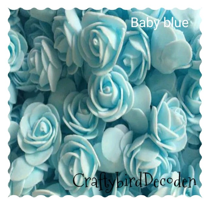 Super cute 30mm foam roses. 15 pieces, Baby blue.  Scrapbooking, card making,