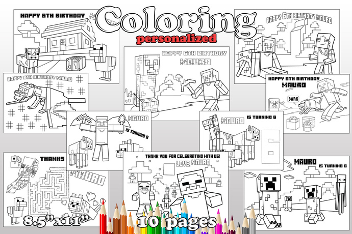 Minecraft Birthday Party favor, Minecraft coloring pages, Minecraft Birthday