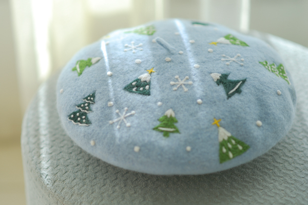 Needle Felted French Beret Hat: Snowflake and Xmas Tree