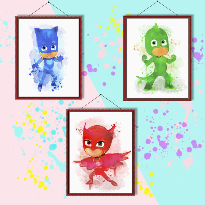 Masked children watercolor, Masked children print, Masked children poster, wall