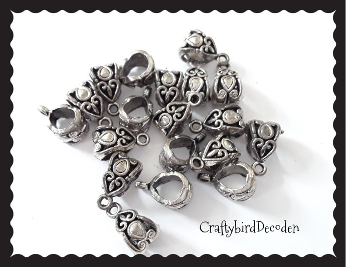 19 x silver tone bails. Ornate, detailed, carved bails. Jewellery making,