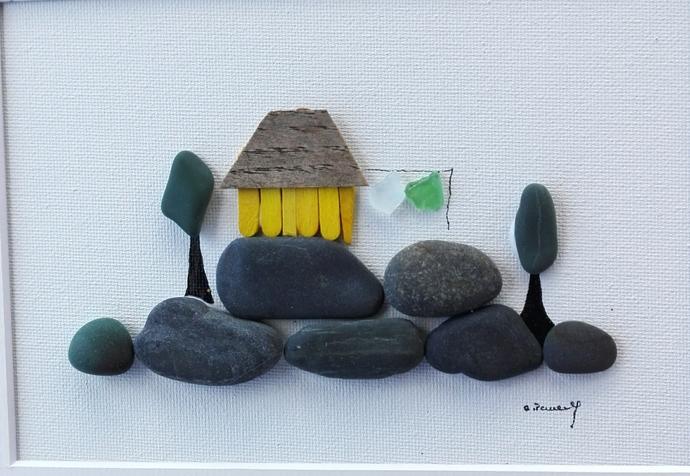 pebble art beach, beach art, home decor, beach home decor, new home gift,