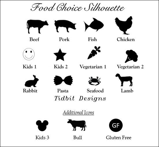 25  Meal Choice Icon Place Card Set / Wedding / Special Event