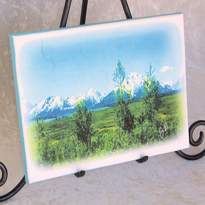 Spring Tetons stretched canvas print, gallery wrapped, 8 x 10 inches