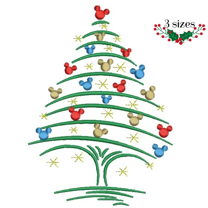 mickey christmas tree machine embroidery designs instant digital download - Mickey Christmas Tree