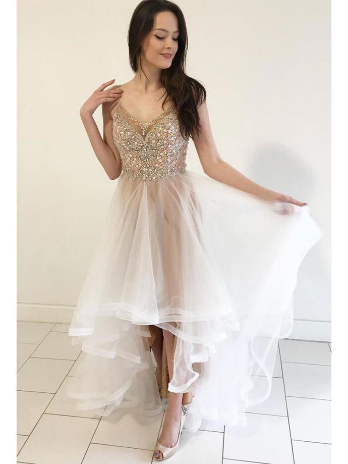 High Low Organza Beaded Prom Dresses Elegant Shiny Formal Evening Dress