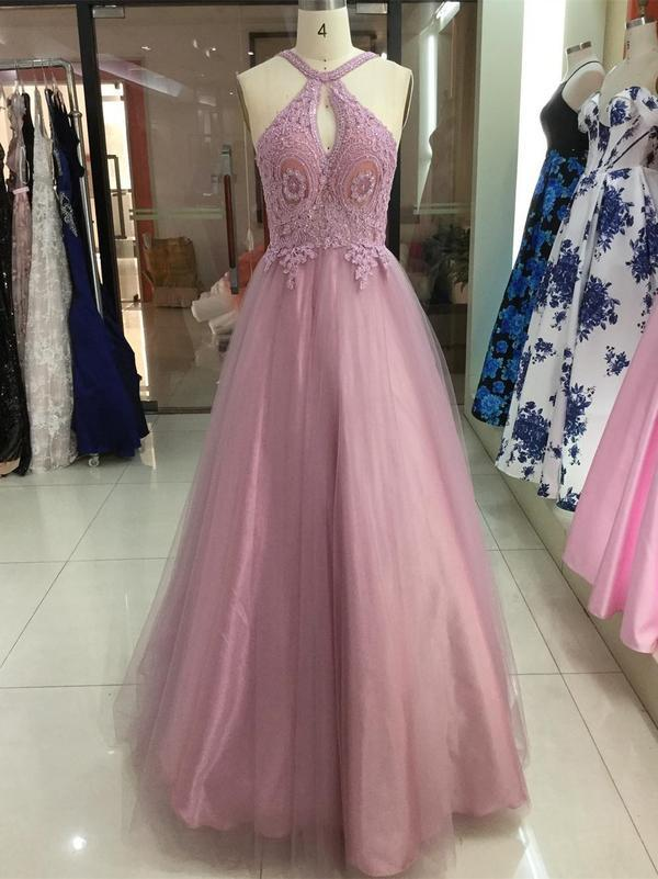 Dusty Rose Halter Lace Applique Tulle Prom Dresses Backless Long Prom Dress