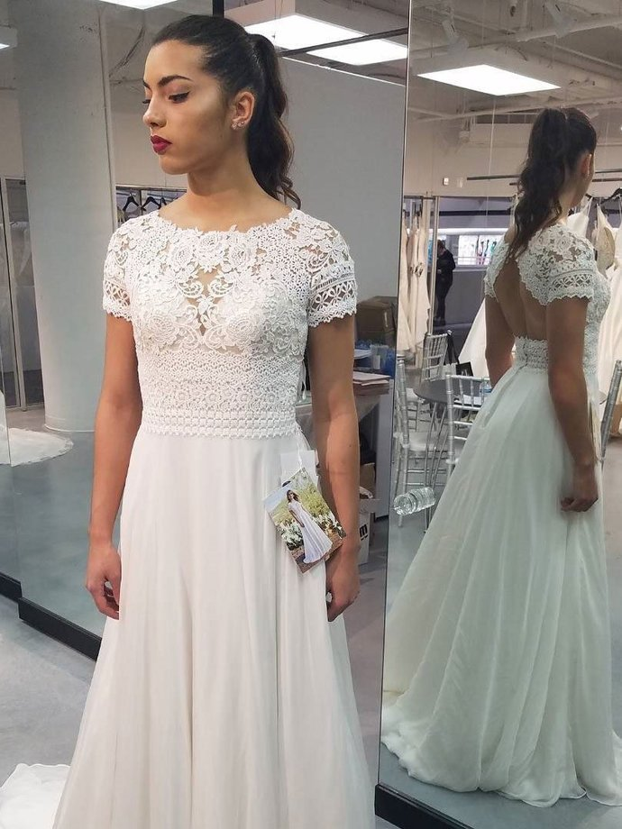 A-line Lace Top Short Sleeves Chiffon Beach Wedding Dresses