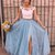 Two Piece Sky Blue Lace Prom Dresses Thigh Split Prom Dress with Rhinestone