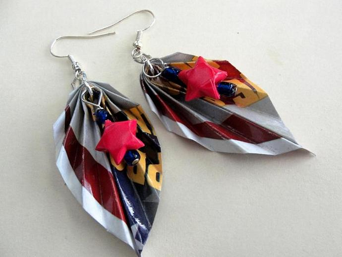 Patriotic Origami Junkmail Jewels Earrings