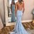 Spaghetti Strap Sky Blue Mermaid Prom Dresses Backless Pageant Formal Dress