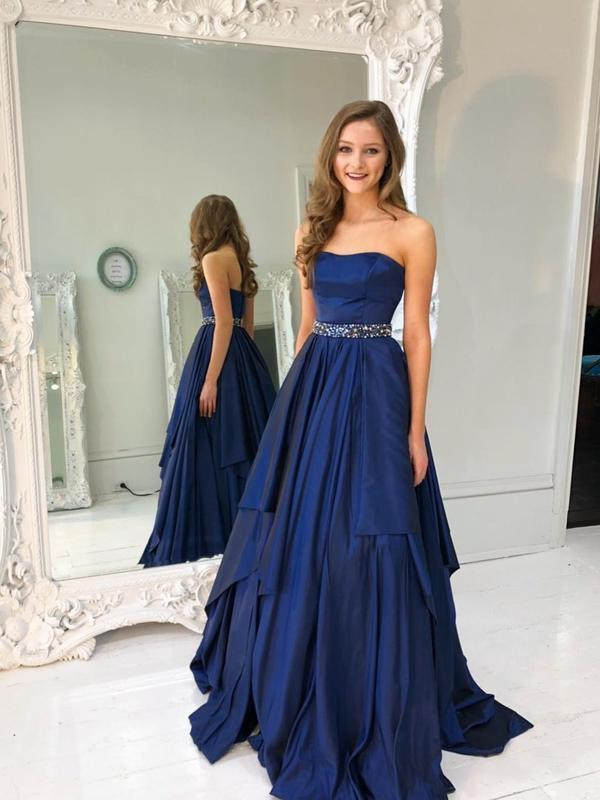 Strapless Asymmetric Beaded Prom Dresses Navy Blue Quinceanera Dress