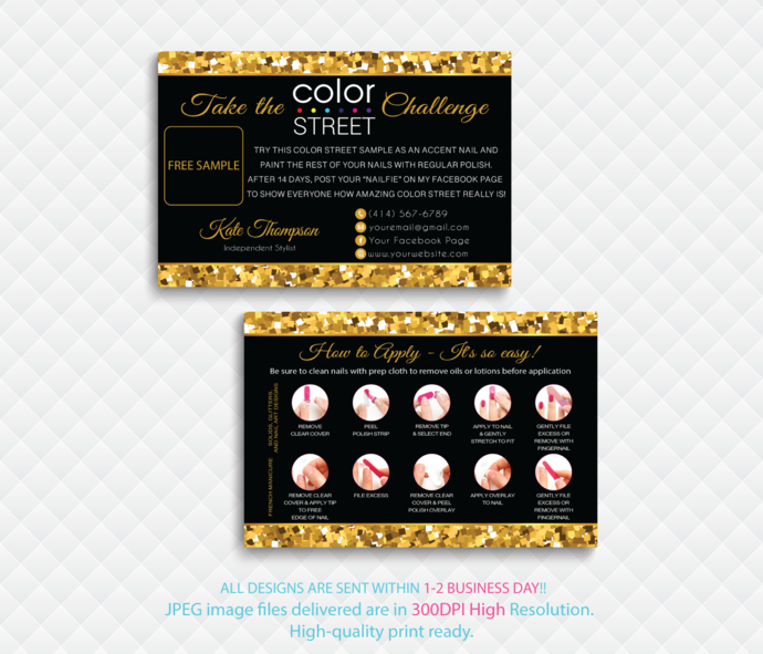 Color Street Free Sample, Personalied Color Street Twosie Cards, Color  Street Challenge, Glitter Cards, Digital File card, CL124
