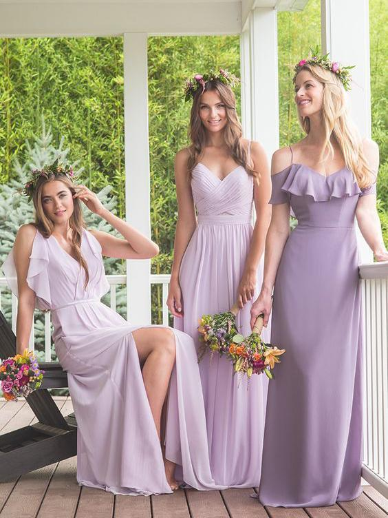 Maxi Chiffon Long Mismatched Bridesmaid Dresses Modest Purple Bridesmaid Dresses