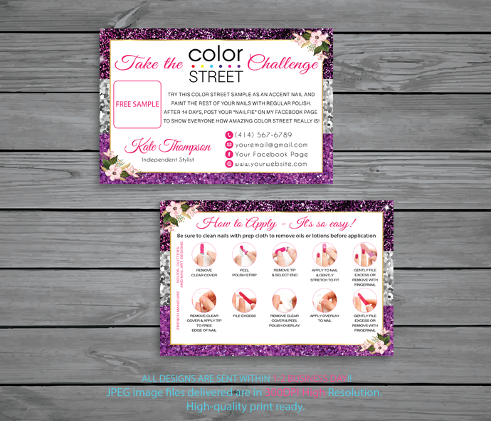 Color Street Challenge, Personalied Color Street Twosie Cards, Color Street Free