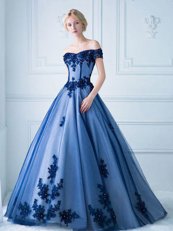 Ball Gown Off the Shoulder Lace Appliqued Long Prom Dresses