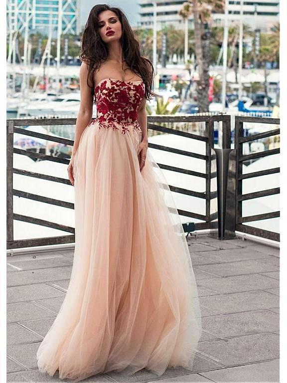 Strapless Blush Prom Dresses Lace Appliqued Tulle Formal Evening Dress