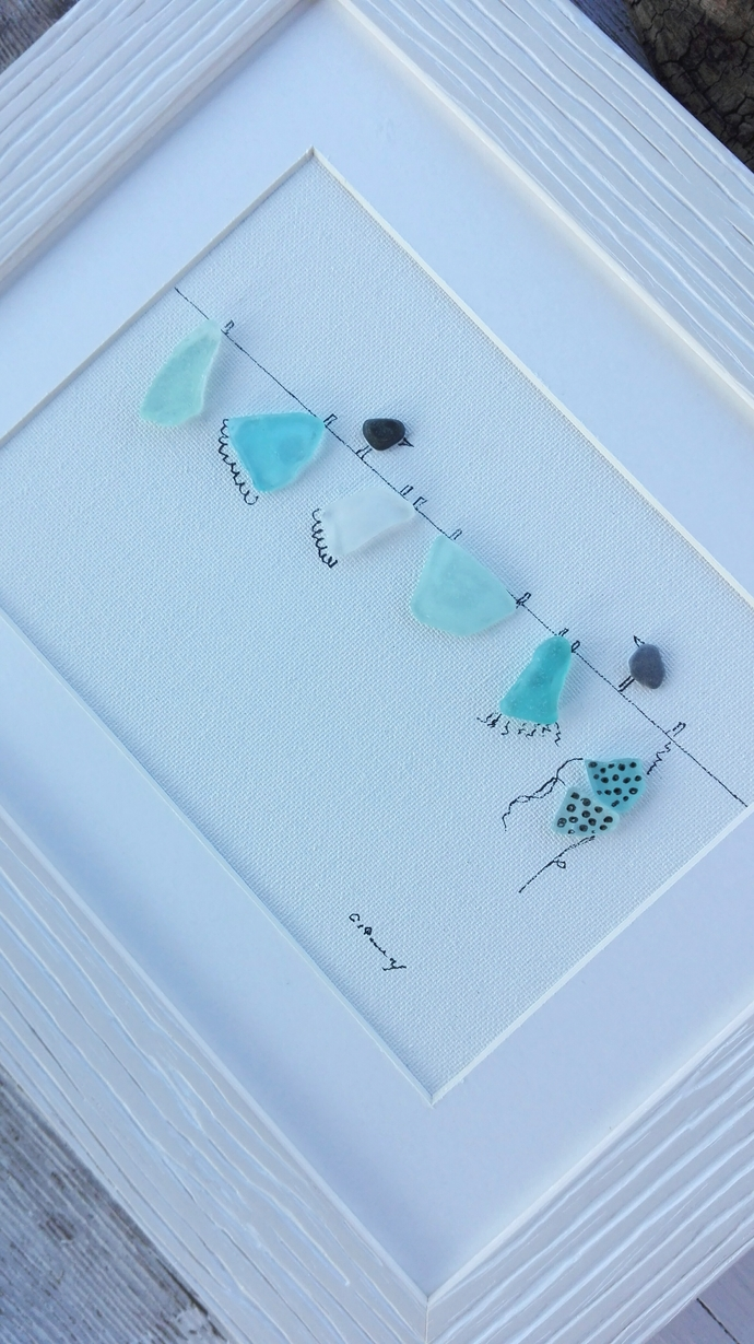 sea glass art, wall art sea glass, home decor, new home gift, home decorations,