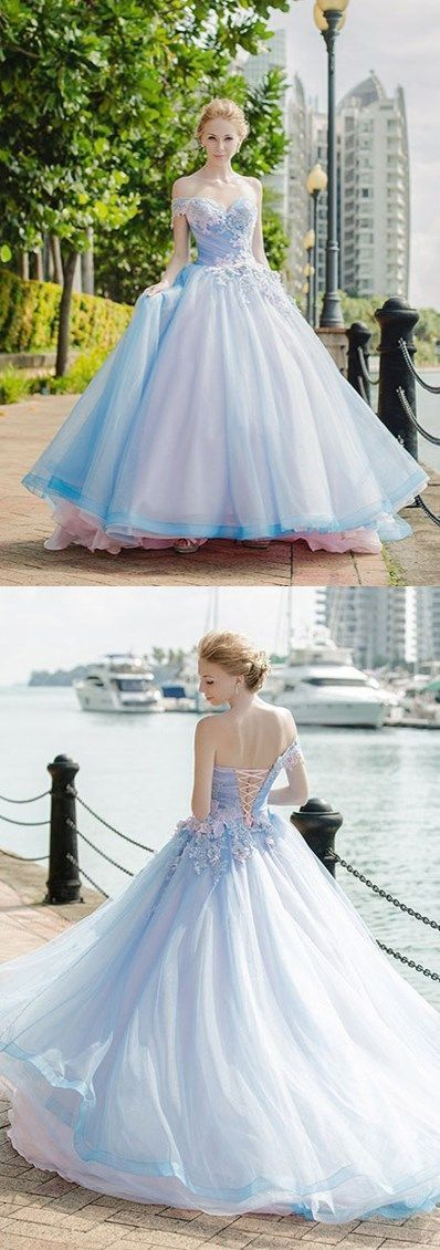 Elegant Appliques Tulle Ball Gown Prom Dresses, Blue Quinceanera Dresses, Formal