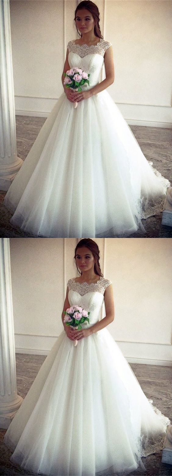 Lace Cap Sleeves Tulle Princess Wedding Dresses BD1386