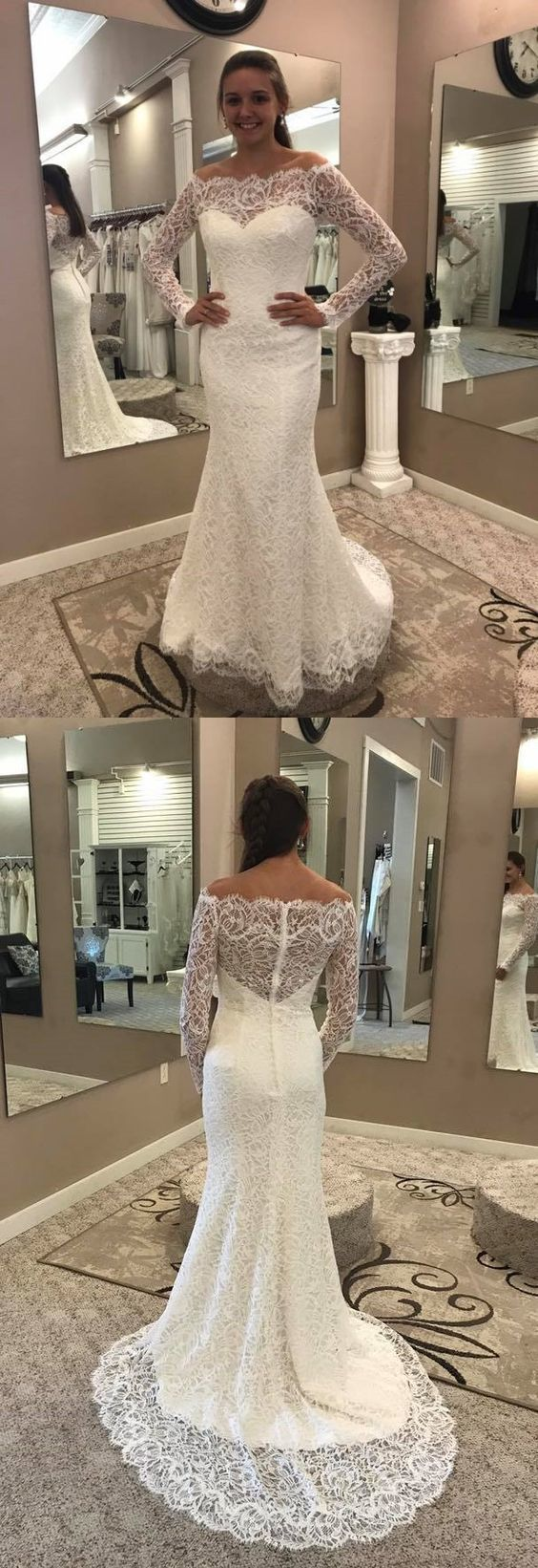 Mermaid Off-the-Shoulder Lace Wedding Dress with Long Sleeves BD1391