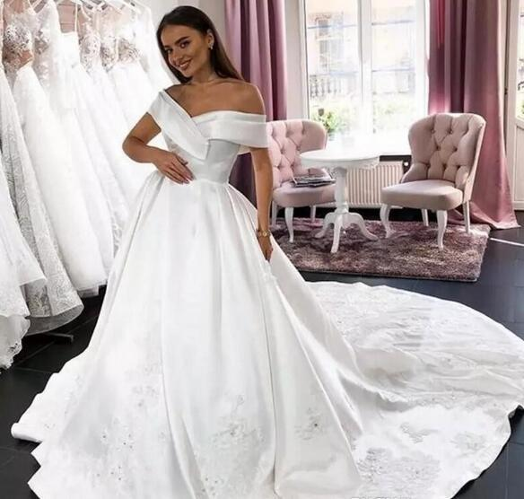 ab20d432d305 Simple Satin Wedding Dresses Off The Shoulder Lace Appliques Sequins Long  Train